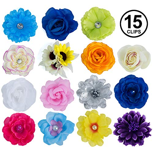 Barrettes for Girls - Flower Hair Clips for Women - 15 Pk Assorted Hair Accessory by CoverYourHair (Hair Flower Clips)