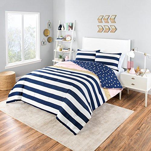 MI 2 Piece Girls Navy Blue White Stripe Comforter Twin XL Set, Preppy Chic Pink Metallic Gold Horizontal Stripes Themed Bedding, Reversible Small Polka Dot Paint Stroke Pattern, - Awning Stripe Bedding