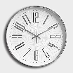 12 Inch Wall Clock Silent Non Ticking Quality Quartz Battery Operated, With Plastic Frame Glass Cover,Easy to Read For Home/ Office/ School Clock,With Large 3D Numerals (Silver, Arabic numerals)