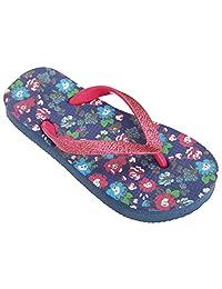 Floso Childrens/Girls Floral Toe Post Flip Flops With Glitter Strap