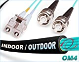FiberCablesDirect | 50M OM4 LC ST Fiber Patch Cable | Indoor/Outdoor 100G LC to ST Multimode 50/125-50 Meter (164ft) | Length Options: 0.5M-300M | OM4 Compatibility: OM3/OM2 | 1Gb 10Gb 40Gb 100Gb