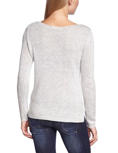 Vila - Camiseta de manga larga de punto para mujer Gris 618