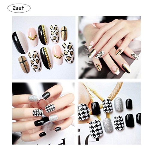 Ximimark 2set(Leopard+Black And White/Drilling flash+Carved pearls/Yellow and lovely+smile) Fake Nails Art Tips Acrylic Nail False Full Cover Manicure ()