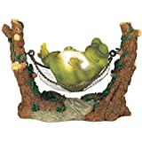 George S. Chen Imports SS-G-61047 Frog On Hammock Garden Decoration Collectible Figurine Statue Model