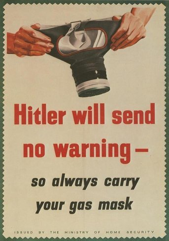 Gas Mask No Warning WW2 Propaganda War A4 Poster