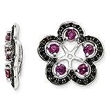 ICE CARATS 925 Sterling Silver Rhodolite Red Garnet Black Sapphire Earrings Jacket Birthstone June Fine Jewelry Gift Set For Women Heart