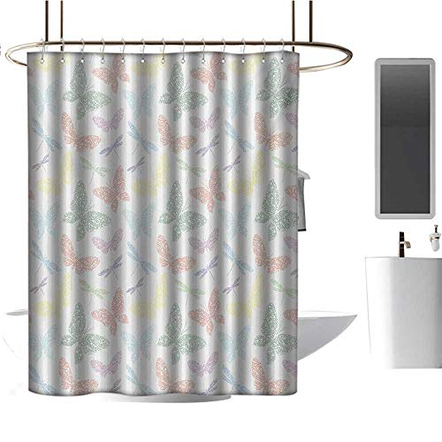 Qenuan Camper Shower Curtain Dragonfly,Colorful Different Sized Speckled Butterfly and Dragonfly Figures Wings Image,Multicolor,for Bathroom Showers, Stalls and Bathtubs 47