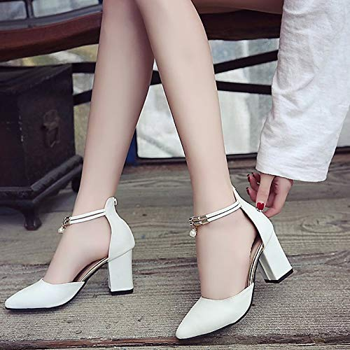 Beige Heel Summer PU Women's Chunky Pointed Toe Strap Ankle White White Heels Spring ZHZNVX amp; Shoes Black Polyurethane qa11YPf