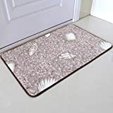 Hangton Shell Printed Bath Mats,Non Slip Bathroom Carpet Rugs,Thickened Rugs for Home Living Room Bedside Bathroom Toilet,Yoga Mat,Beike,About 40X60Cm
