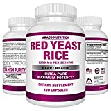 Red Yeast Rice Extract 1200 mg – CITRININ Free Supplement – Vegetarian 120 Capsules – Arazo Nutrition