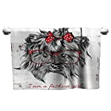 Mannwarehouse Animal Water-Absorbing Bath Towel I am a Fashion Girl Quote Sketch Cute Hipster Dog with Sunglasses and Red Bow W12 x L27 Red Black White