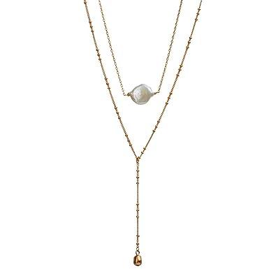88952c3dd656 LuckyLy – Collares Mujer Goldie – Collares con Piedras Mujer de 2 Capas – Diseño  Moderno
