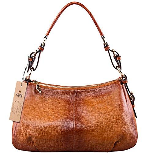 [S-ZONE Womens Vintage Genuine Leather Single Shoulder Bag Top-handle Handbag Ladies Purses] (Leather Ladies Handbag)