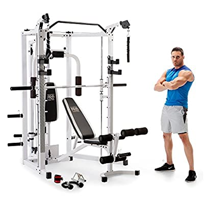 Marcy Smith Cage Machine with Workout Bench and Weight Bar Home Gym Equipment