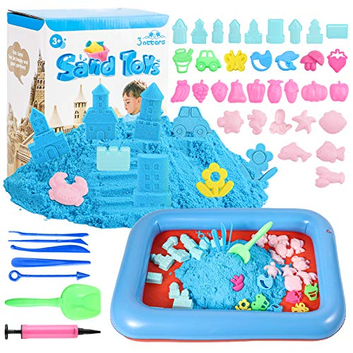 3 otters Play Sand and Sand Molds Kit, 4 Lbs Magic Sand Play Sand Beach Mold Kit Easter Basket Stuffers Play Sand Set with 45 Pcs Sand Molds and 1 Sand Tray