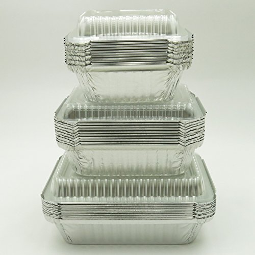 KitchenDance Combo Pack of Disposable Meal Prep/Take out/Food Saver Pans. 1 pound, 1-1/2 pound & 2-1/4 pound size- 10 of each with choice of lids (Plastic Lids)