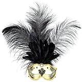 PARTY DISCOUNT Maske Venedig mit langen Federn, gold