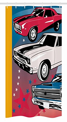 Ambesonne Cars Stall Shower Curtain, Pop Art Stylized Group of Nostalgic American Muscle Cars with Stars Antique Print, Fabric Bathroom Decor Set with Hooks, 36 W x 72 L inches, Red Beige Blue