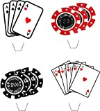 Novelty Casino Party / Poker Mix 12 Edible Stand up wafer paper cake toppers (5 - 10 BUSINESS DAYS DELIVERY FROM UK)