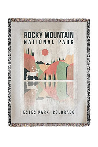 Rocky Mountain National park - Estes park, Colorado - Elk - Geometric Opacity (60x80 Woven Chenille Yarn Blanket) (National Park Mountain Park Estes Rocky)