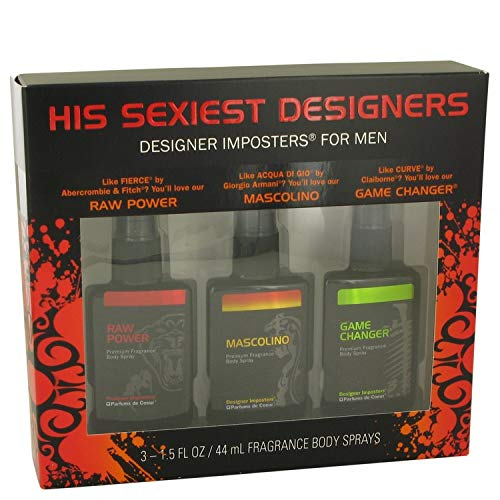 Designer Imposters Raw Power by Parfums De Coeur Gift Set - Sexiest Designers Set Includes Raw Power Mascolino and Game Changer all in 1.5 oz Body Sprays Men -