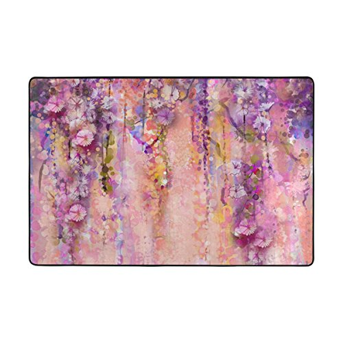 LAVOVO Pink Violet Watercolor Flowers Painting Wisteria Tree Print Area Rug Rugs Non-Slip Floor Mat Doormats for Living Room Bedroom 36