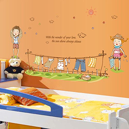 MiniWall You Can Remove The Wall Sticker Animation Sun Clothes Boys and Girls Warm Couples Posted Bed Sofa Romantic Decor,The Picture Color,Maximum