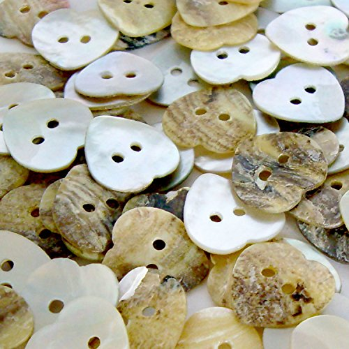 100pcs Heart Shape Mother of Pearl Shell Button 11MM 2 Holes Sewing Craft
