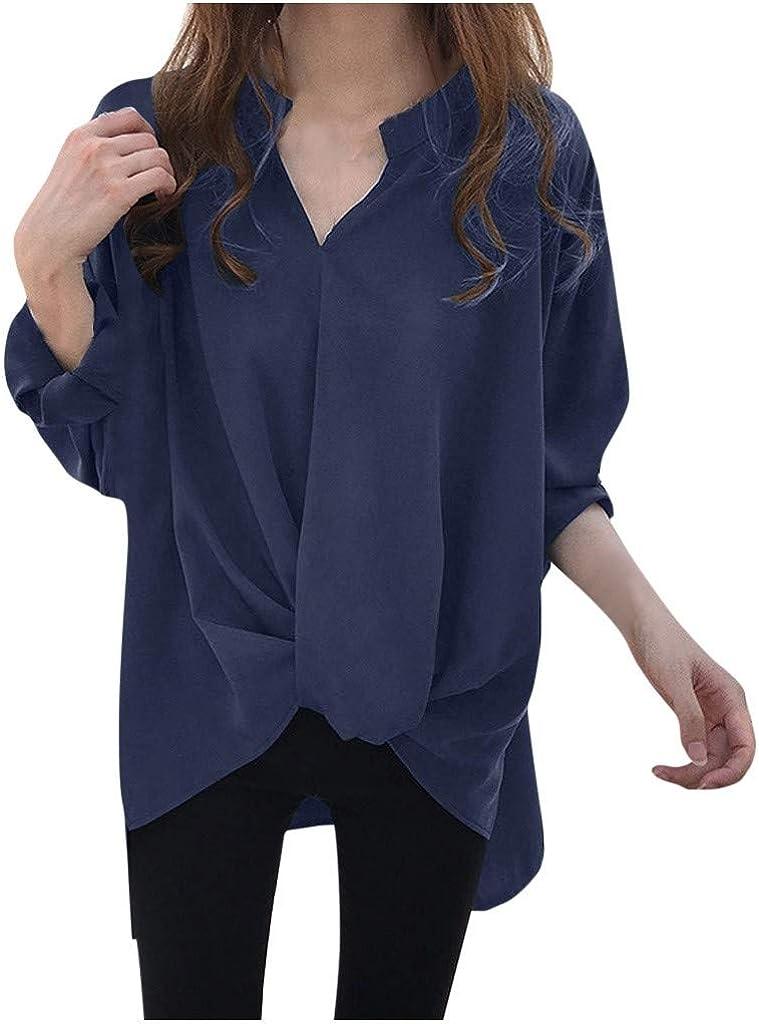 Luckycat Mujer Camisa Cuello En V Blusas de Manga Larga Casuales Tops Camiseta con Cuello De Pico para Mujer Camisa De Manga Larga con Botones Camisa De Botones De Color Sólido Simple
