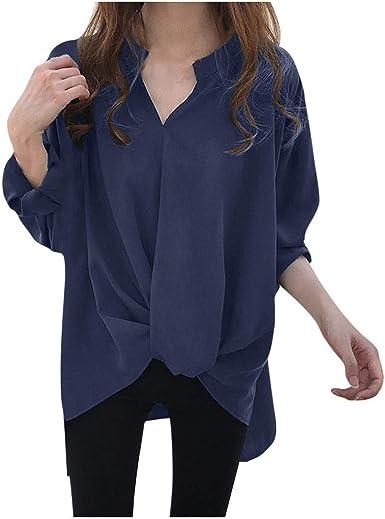 Luckycat Mujer Camisa Cuello En V Blusas de Manga Larga Casuales Tops Camiseta con Cuello De