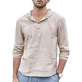 Pengfei Mens Casual Hoodie Shirts Long Sleeve Pullover Henley Cotton Lightweight Hooded Beach Tops