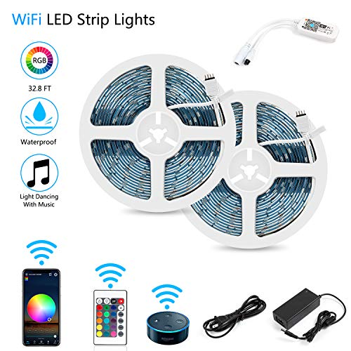 Led Light System - LED Strip Lights, WiFi Wireless Smartphone Controlled Waterproof RGB Rope Lights Flexible 5050 Light Strip 32.8ft 300LEDs 24key IR Remote Controller DC12V UL Power Adapter Work with Android iOS Alexa