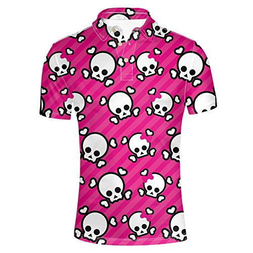 HUGS IDEA Skull Design Novelty Pink Short Sleeve Breathable Soft Jersey Polos T-Shirt Tees Slim Fit Button Down Shirt