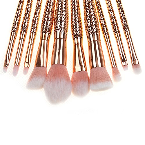 10pcs Mermaid Makeup Brush Set Soft Synthetic Cosmetics Tools for Woman Multicolor Gradient by LassieBeauty (Image #3)