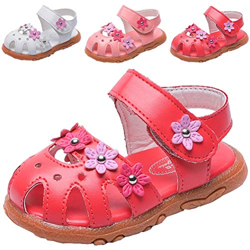 DADAWEN Girl's Summer Closed-Toe Solid Flower Outdoor Casual Sandals (Toddler/Little Kid) Red US Size 9 M Toddler]()