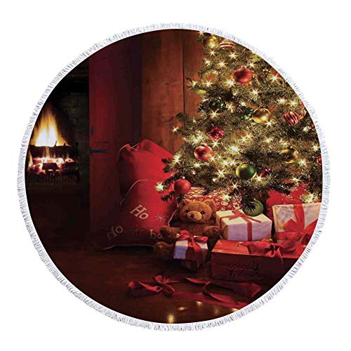 iPrint Thick Round Beach Towel Blanket,Christmas,Xmas Scene with Decorated Luminous Tree and Gifts by the Fireplace Artful Image,Red Yellow,Multi-Purpose Beach Throw by iPrint