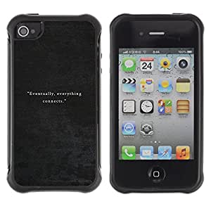 WAWU Funda Carcasa Bumper con Absorci??e Impactos y Anti-Ara??s Espalda Slim Rugged Armor -- quote leather grey velvet -- Apple Iphone 4 / 4S