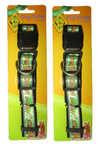 Scooby Doo (2 Pack) Large Adjustable Green Collar with Clip & Ring