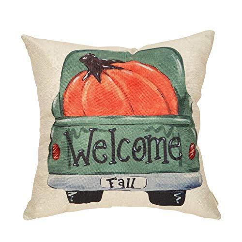 FahrendoWem Fall Farmhouse Rustic Home Décor Thanksgiving Autumn Harvest Decorative Throw Pillow Cover Vintage Truck Sign Welcome Pumpkin Decoration Cotton Linen Cushion Case for Sofa Couch 18 x 18 In