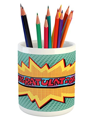 Lunarable Graduation Pencil Pen Holder, Congratulations on C