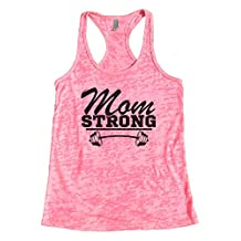 "Trendy Womens Gym Tanks ""Mom Strong"" Royaltee Workout Collection Shirts"