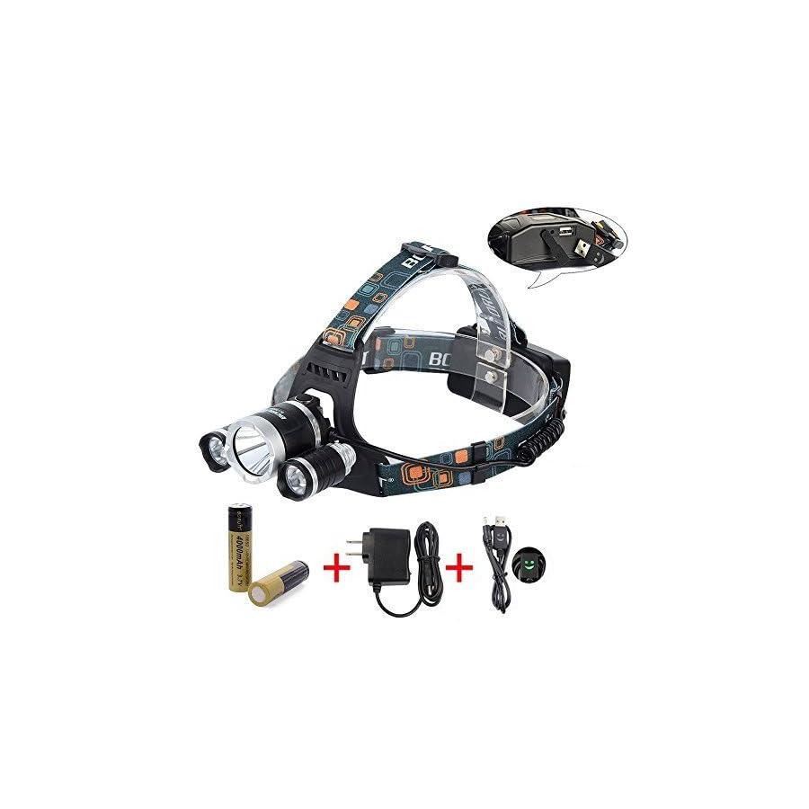 BORUiT RJ 5000 Super Bright Headlamp LM 3 x Cree XML L2 4 Modes 5000Lumens Rechargeable LED Headlamp Headlight Comfortable Wearing Head Light for Camping/Biking/Hunting/Fishing/Walking