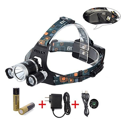 BORUiT RJ 5000 Super Bright Headlamp LM 3 x Cree XML L2 4 Modes 5000Lumens Rechargeable LED Headlamp Headlight Comfortable Wearing Head Light for Camping/Biking/Hunting/Fishing/Walking