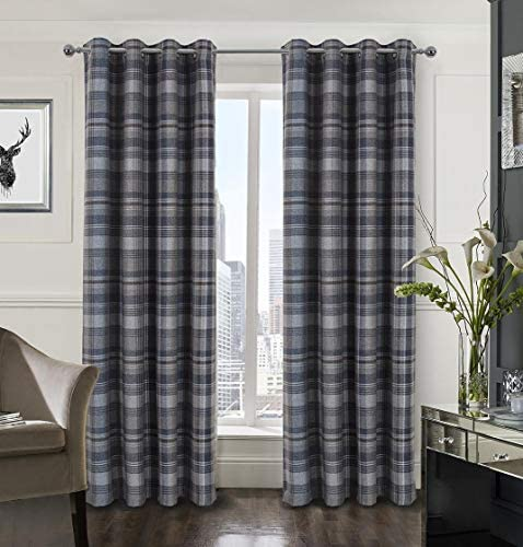 Plaid Gingham Curtains for Living Room Bedroom Room Darkening Check Country Curtains 2 Panels Striped Grommet Window Treatments 45X84 Inch Blue and Brown