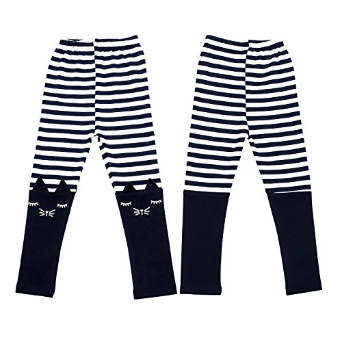 2 Pack Girls Pants Baby Toddler Girl Legging Cute Cat Striped Spliced Kids Pant Cotton Blended 5T by BOOPH (Image #2)