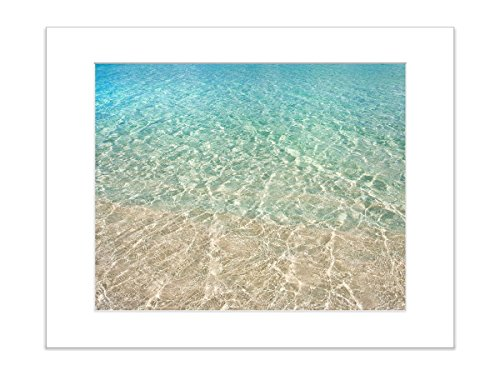 8x10 Inch Matted Beach Photo Ocean Print Water Tropical Waves Coastal Shoreline by Catch A Star Fine Art Photography