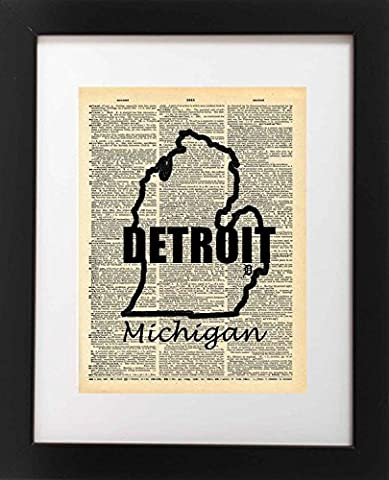 Detroit Michigan State Map Vintage Dictionary Art Print 8x10 inch Home Vintage Art Abstract Prints Wall Art for Home Decor Wall Decorations For Living Room Bedroom Office - Michigan Antique Map