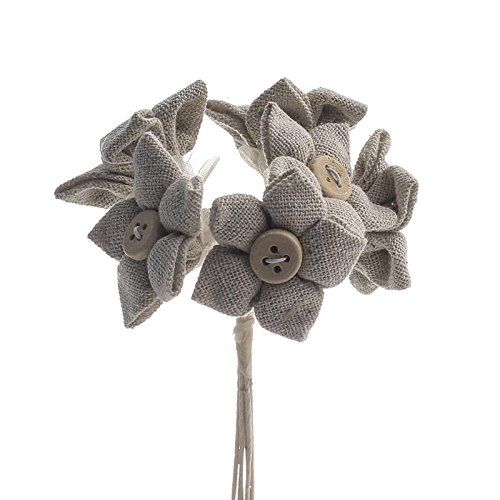 Package of 12 Polyester Linen Fabric Flower Picks with Wood Button Centers for Embellishing, Displaying and Decorating