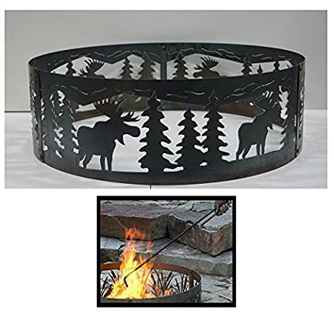 PD Metals Steel Campfire Fire Ring Moose Design - Unpainted - with Fire Poker - Large 48 d x 12 h Plus Free (Moose Fire Pit Ring)