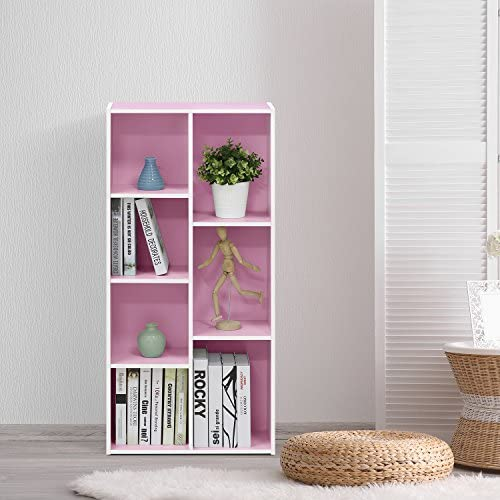 Furinno Reversible Color Open Shelf Bookcase/Bookshelf/Storage Shelves, 7-Cube, White/Pink